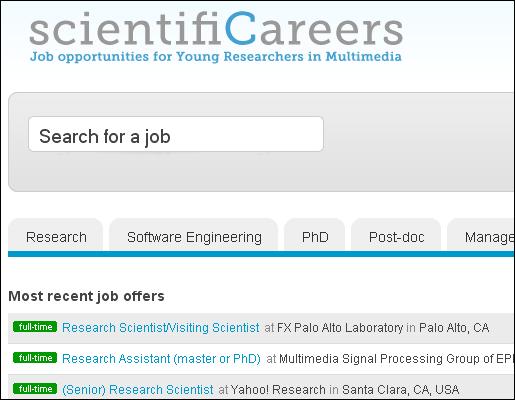 ScientifiCareers. Job opportunities for young researcher in Multimedia