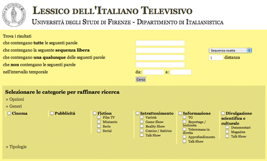 LIT. Lexicon of Italian Television search engine