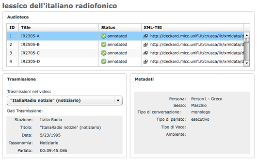 LIR. Lexicon of Italian Radio backend