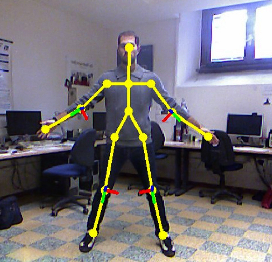 Florence 3D Actions Dataset: man moving in front of the Kinect skeleton tracker