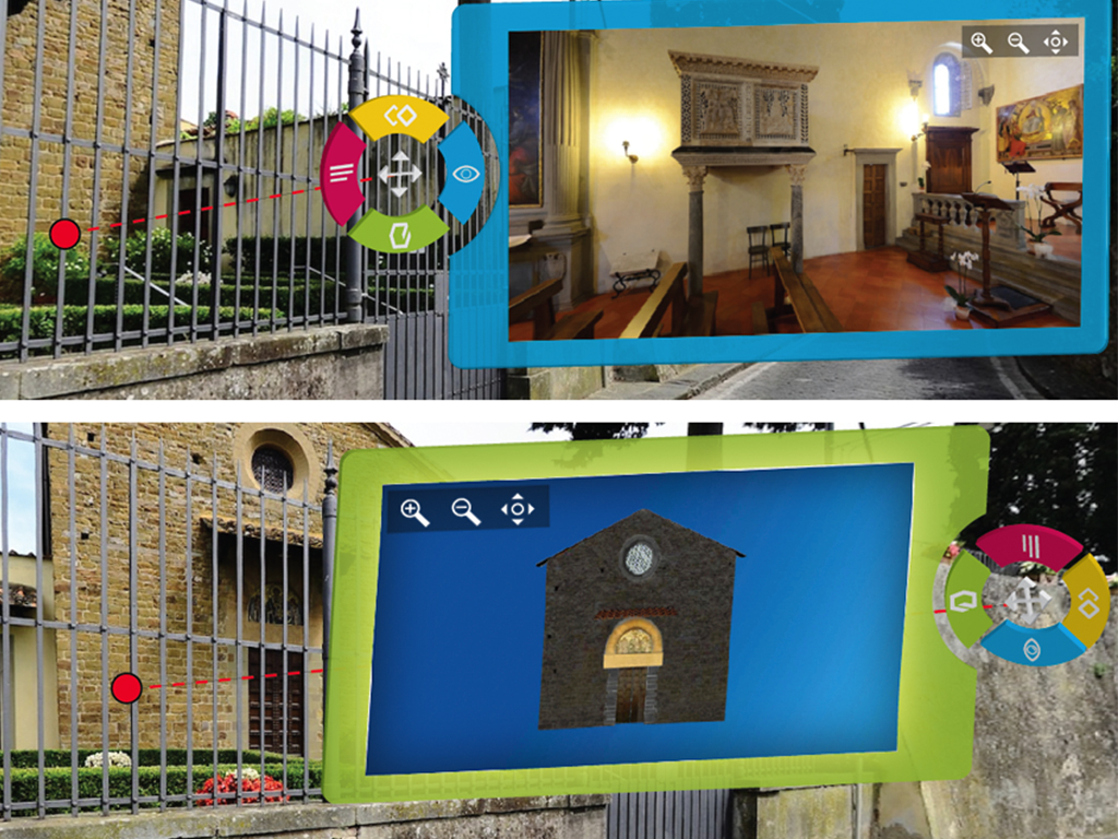 Sample interaction with a hot-spot to show an image of the inside part of a church and a 3D model of the church building