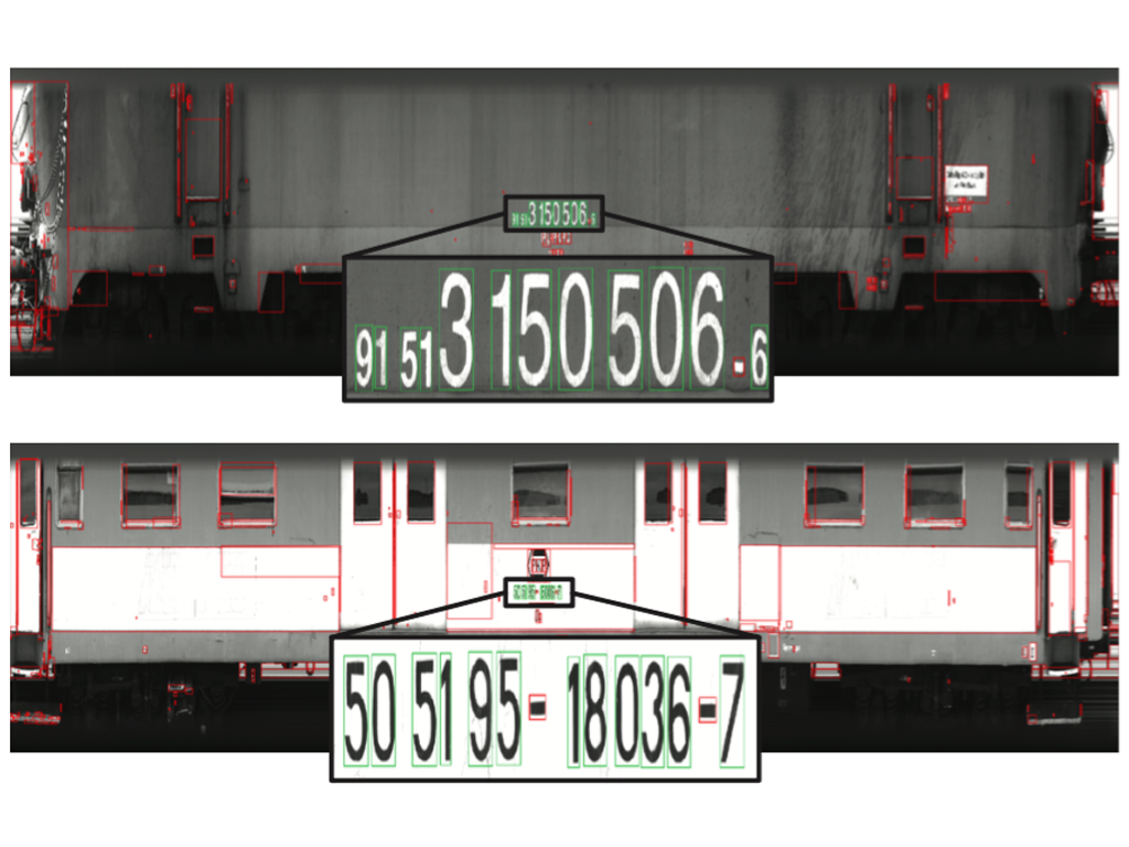 Examples of text region segmentation on two different wagons. In green the final bounding box segmented.